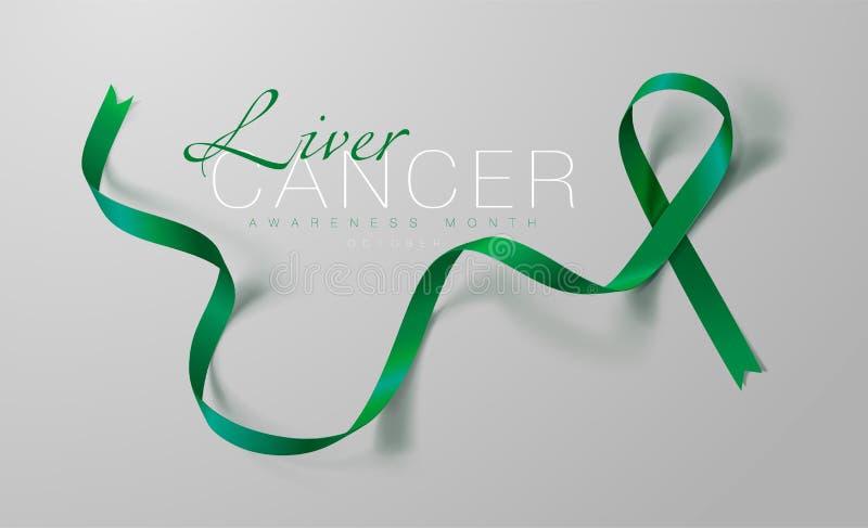 Progettazione del manifesto di calligrafia di consapevolezza del cancro del fegato Emerald Green Ribbon realistico Ottobre ? mese illustrazione di stock