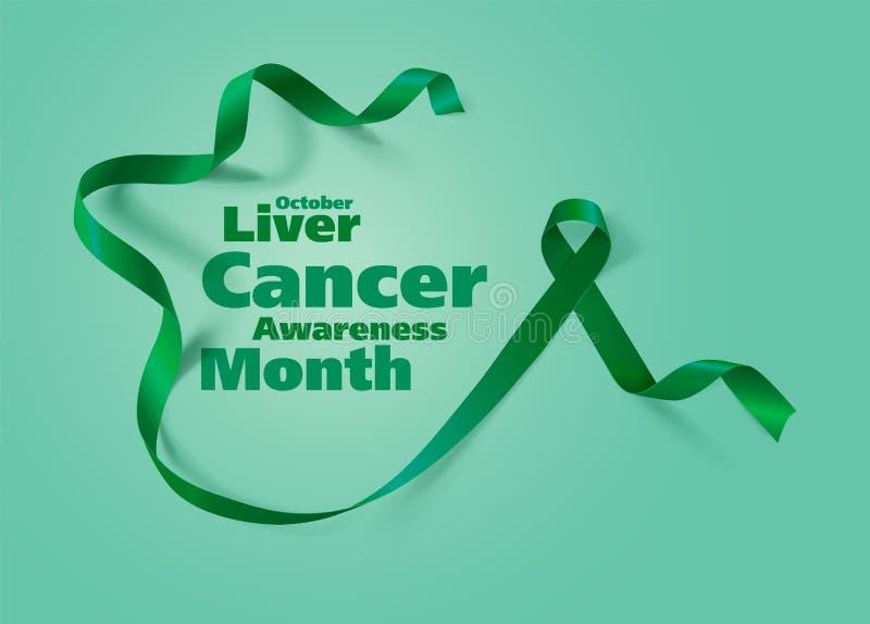 Progettazione del manifesto di calligrafia di consapevolezza del cancro del fegato Emerald Green Ribbon realistico Ottobre ? mese illustrazione vettoriale