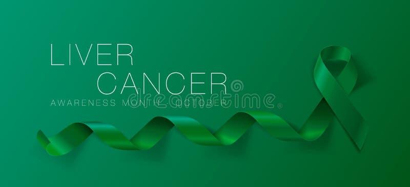Progettazione del manifesto di calligrafia di consapevolezza del cancro del fegato Emerald Green Ribbon realistico Ottobre ? mese royalty illustrazione gratis