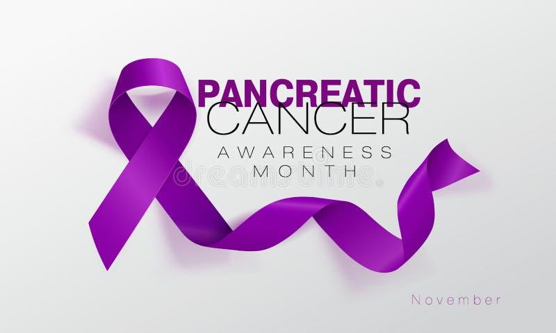 Progettazione del manifesto di calligrafia di consapevolezza del cancro del pancreas Nastro porpora realistico Novembre ? mese di illustrazione di stock