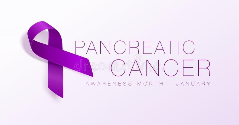 Progettazione del manifesto di calligrafia di consapevolezza del cancro del pancreas Nastro porpora realistico Novembre ? mese di illustrazione vettoriale