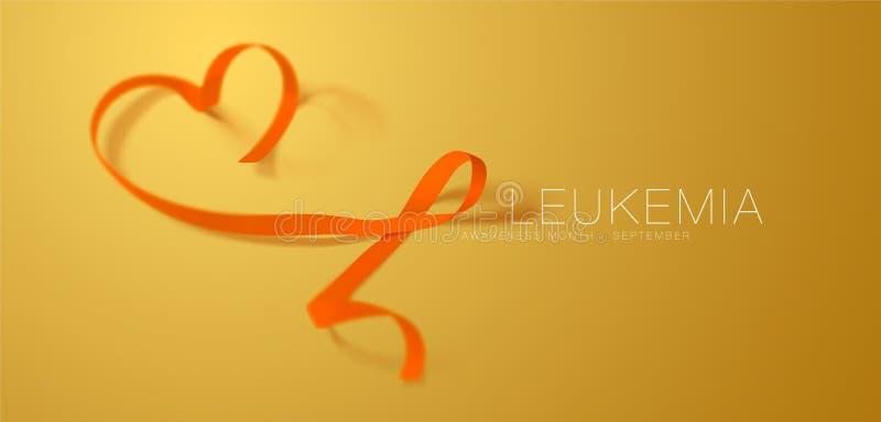 Progettazione del manifesto di calligrafia di consapevolezza di leucemia Nastro arancio realistico Settembre ? mese di consapevol illustrazione vettoriale