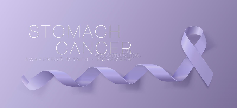 Progettazione del manifesto di calligrafia di consapevolezza del tumore dello stomaco Nastro realistico della vinca Novembre ? me royalty illustrazione gratis