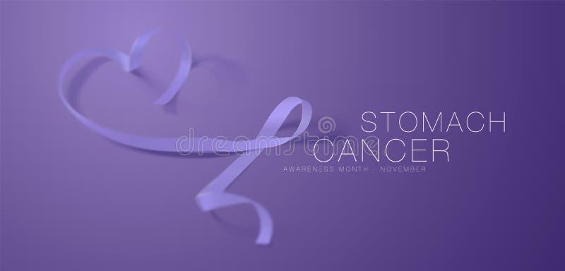Progettazione del manifesto di calligrafia di consapevolezza del tumore dello stomaco Nastro realistico della vinca Novembre ? me illustrazione vettoriale