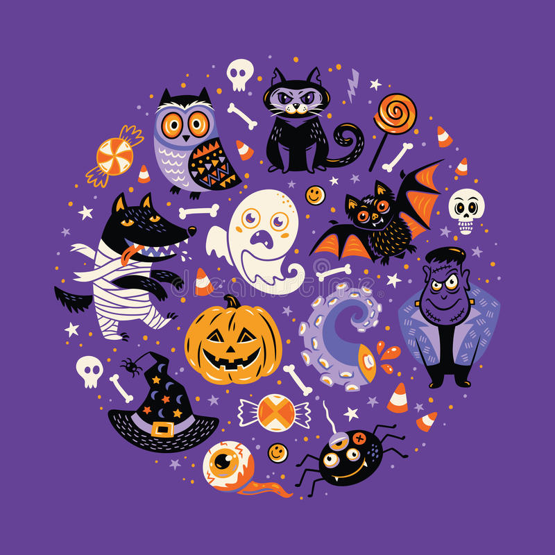 Progettazione del manifesto di Halloween fissata nel cerchio illustrazione di stock