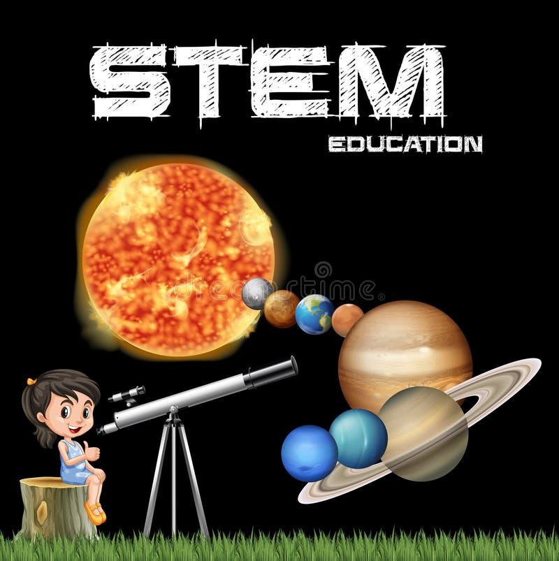 Progettazione del manifesto di istruzione del gambo con la ragazza ed il sistema solare illustrazione di stock