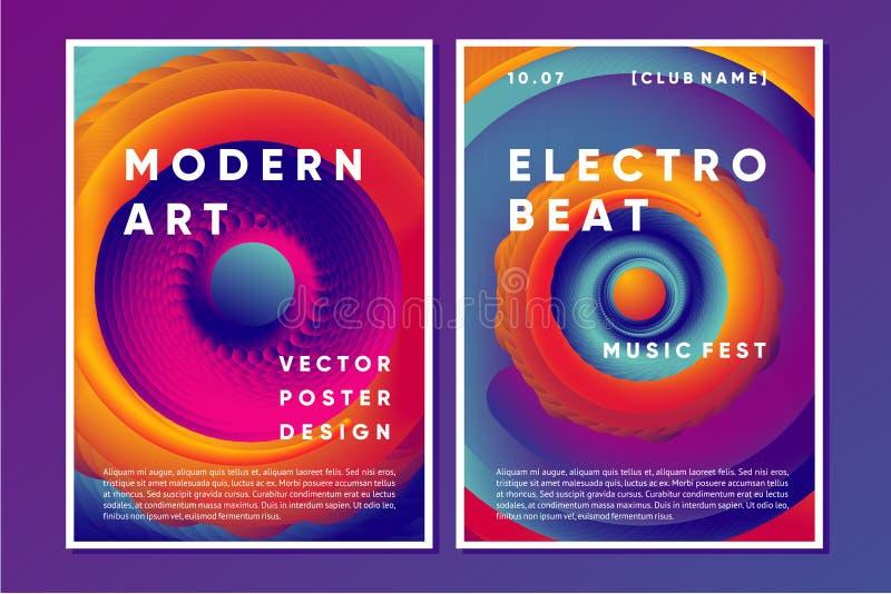 Progettazione del manifesto di musica elettronica con vortice vibrante Fondo dell'estratto del night-club con le forme di pendenz illustrazione di stock