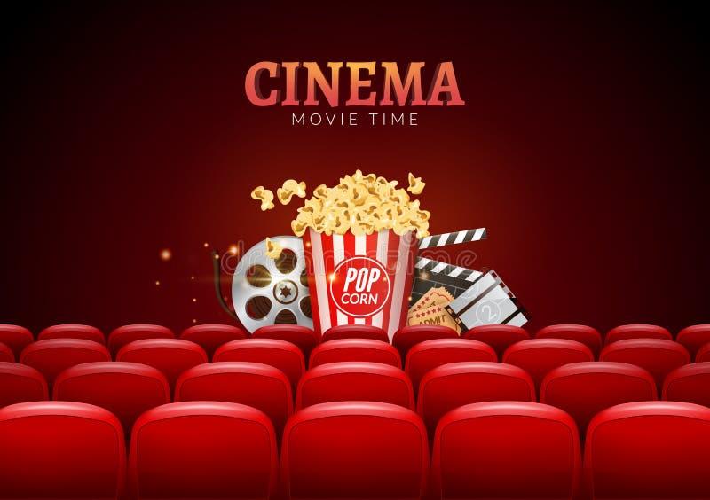 Progettazione del manifesto di prima del cinema di film Vector l'insegna del modello per la manifestazione con i sedili, il popco illustrazione vettoriale
