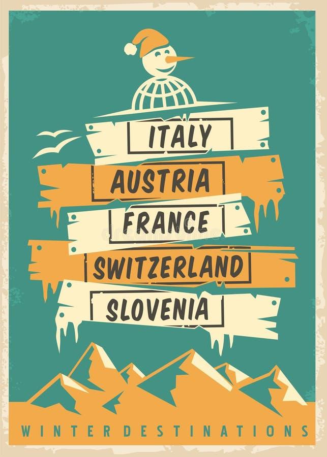 Progettazione del manifesto di promo dell'agenzia di viaggi retro con le destinazioni popolari di inverno royalty illustrazione gratis