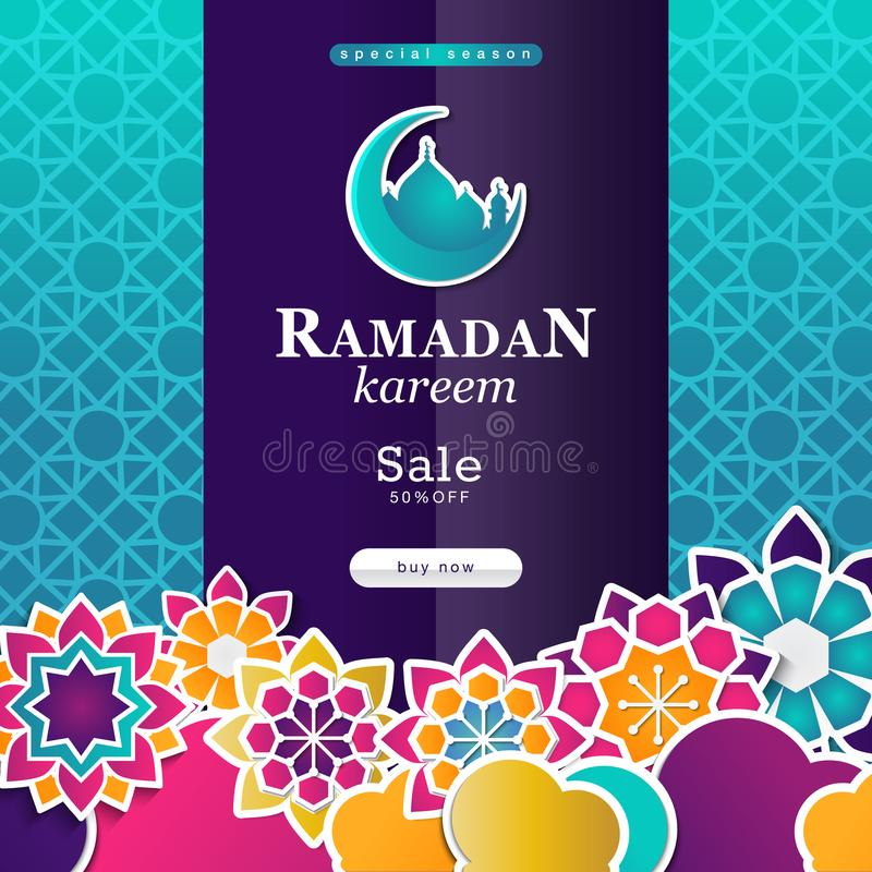 Progettazione del manifesto di vendita di stagione del Ramadan nello stile islamico fotografia stock libera da diritti