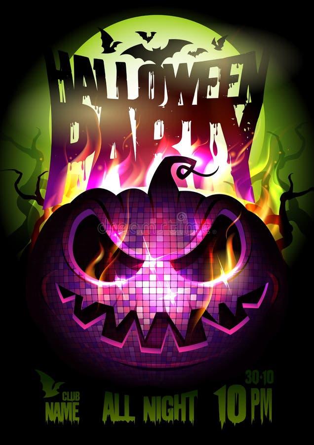Progettazione del manifesto di vettore del partito di Halloween, zucca bruciante, luna piena, fiamma del fuoco illustrazione di stock