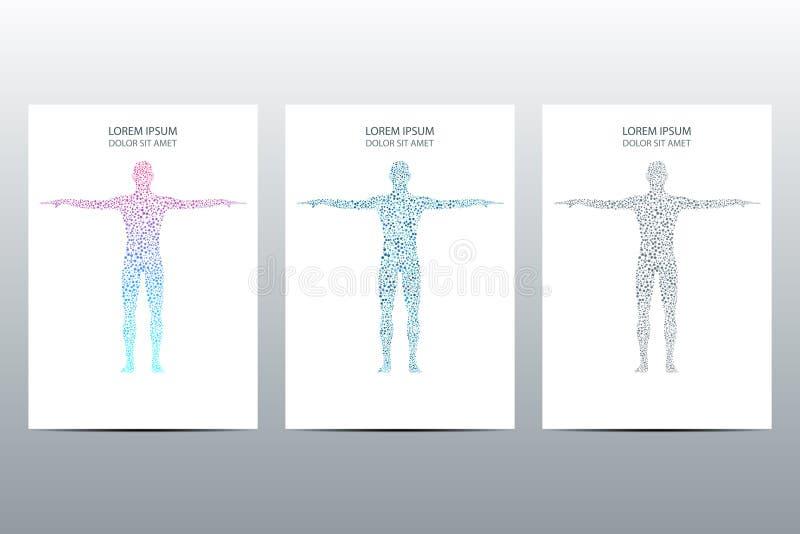 Progettazione del manifesto o della copertura con il concetto scientifico e tecnologico del corpo umano, illustrazione di vettore illustrazione vettoriale