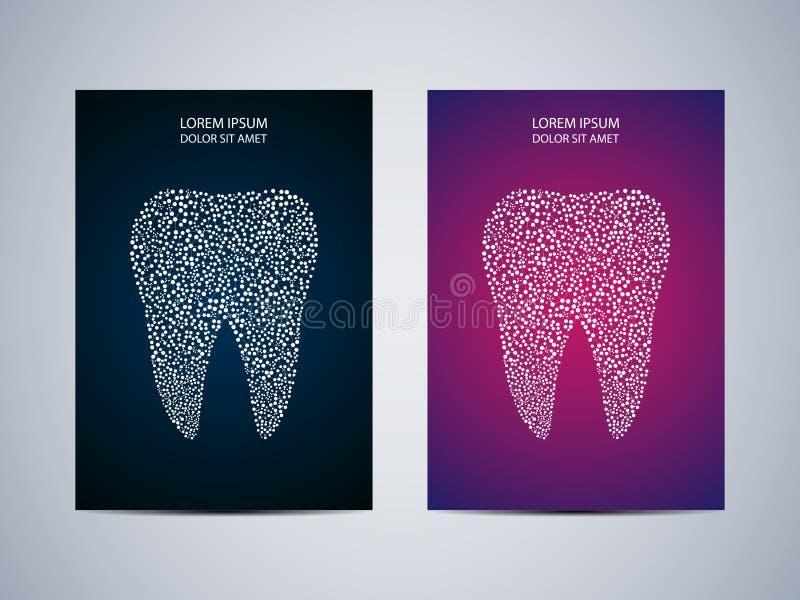 Progettazione del manifesto o della copertura con il fondo del dente, illustrazione di vettore illustrazione di stock