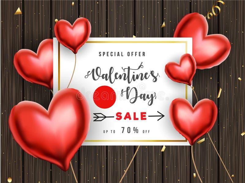 Progettazione del manifesto o del modello di vendita di San Valentino con l'offerta di sconto di 70% ed i palloni decorativi di f illustrazione vettoriale