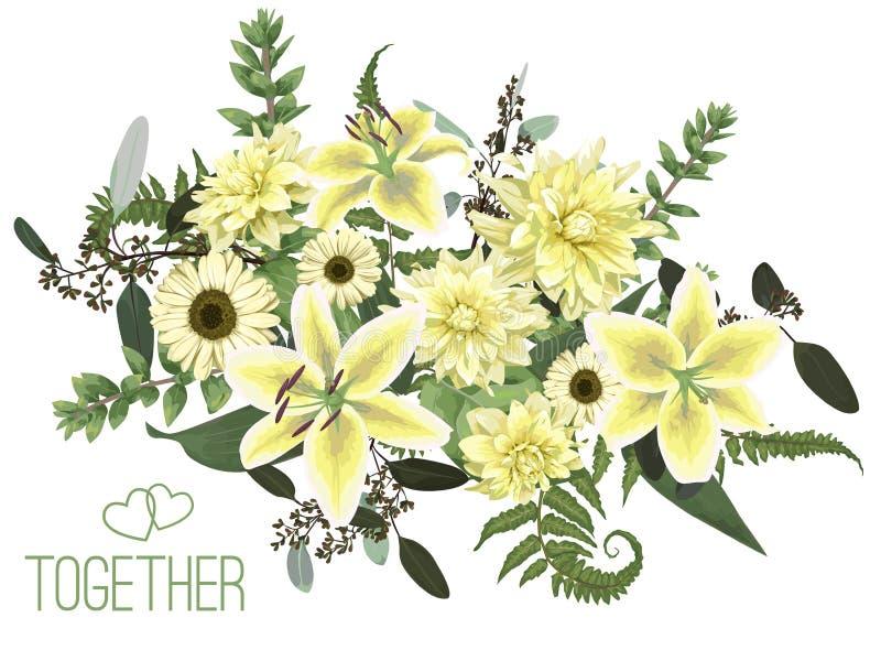 Progettazione del mazzo floreale di vettore, foglia verde della foresta, felce, rami, buxus, eucalyptus Fiori del giglio giallo e royalty illustrazione gratis
