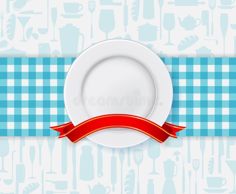 Progettazione del menu del ristorante con il piatto ed il nastro royalty illustrazione gratis