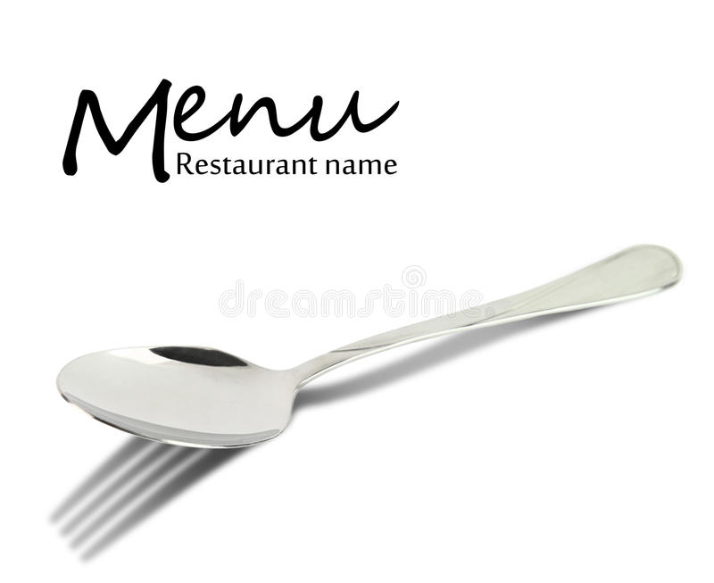 Progettazione del menu del ristorante. Cucchiaio con l'ombra della forcella fotografia stock