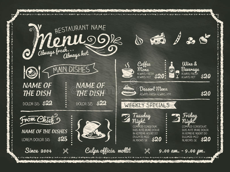 Progettazione del menu dell'alimento del ristorante con il fondo della lavagna royalty illustrazione gratis