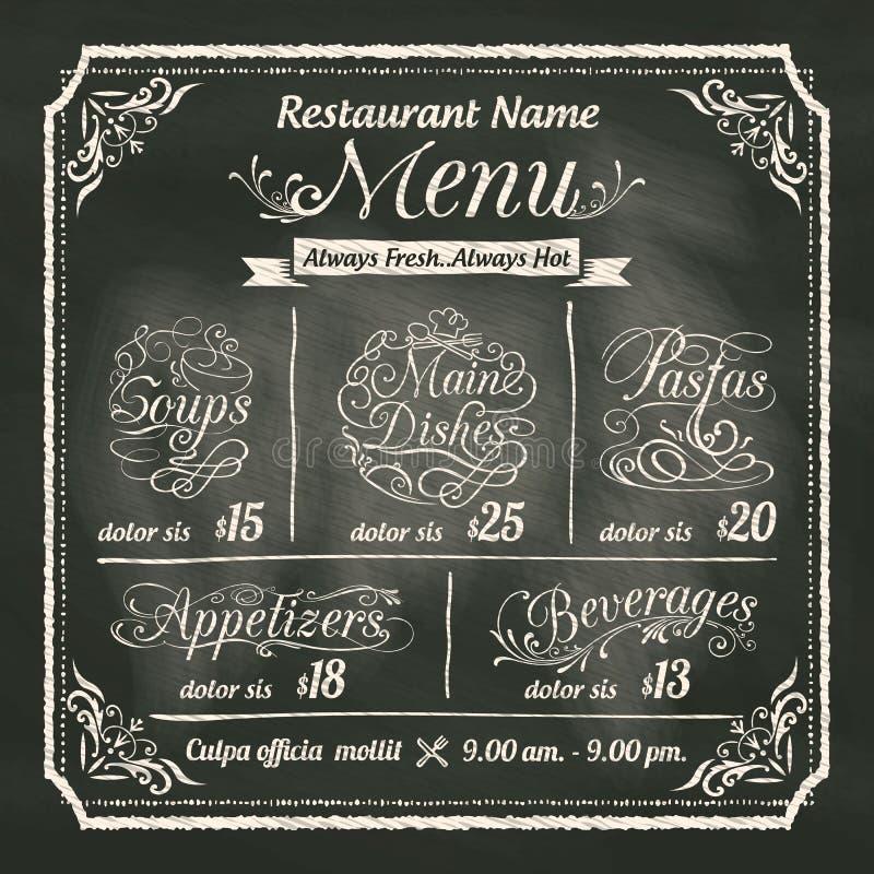 Progettazione del menu dell'alimento del ristorante con il fondo della lavagna illustrazione vettoriale