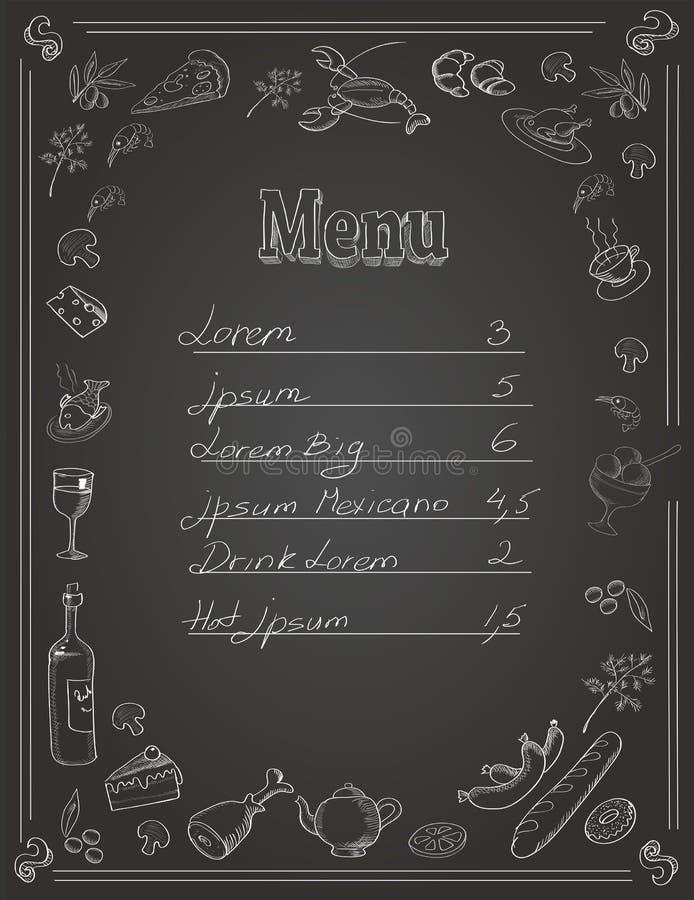 Progettazione del menu dell'alimento del ristorante con la lavagna illustrazione di stock