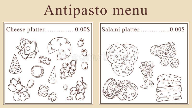 Progettazione del menu dell'antipasto Illustrazione del fumetto di vettore illustrazione vettoriale