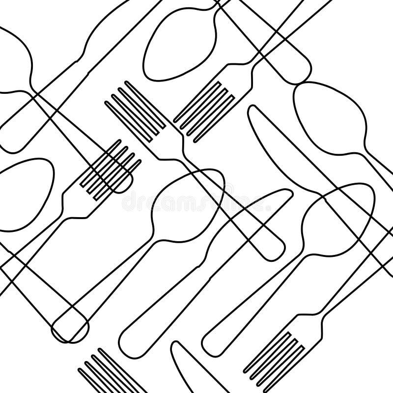 Progettazione del menu della coltelleria illustrazione di stock