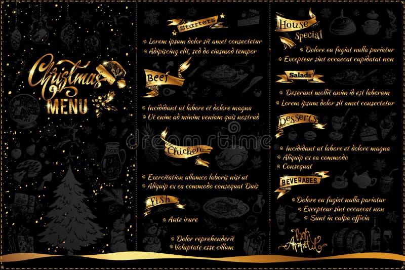Progettazione del menu di Natale con le icone ed il testo di scarabocchio royalty illustrazione gratis