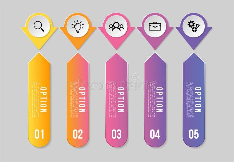 Progettazione del modello degli elementi di Infographics di vettore con i punti di opzioni Cronologia di visualizzazione di dati  illustrazione di stock