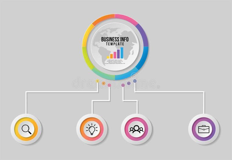 Progettazione del modello degli elementi di Infographics di vettore La cronologia di visualizzazione di dati di gestione con le i royalty illustrazione gratis