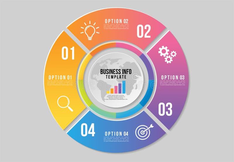 Progettazione del modello degli elementi di Infographics di vettore La cronologia di visualizzazione di dati di gestione con le i illustrazione vettoriale