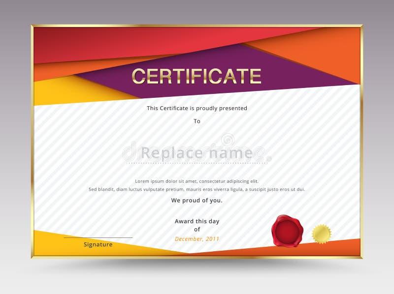 Progettazione del modello del certificato del diploma con la scala internazionale della stampa royalty illustrazione gratis