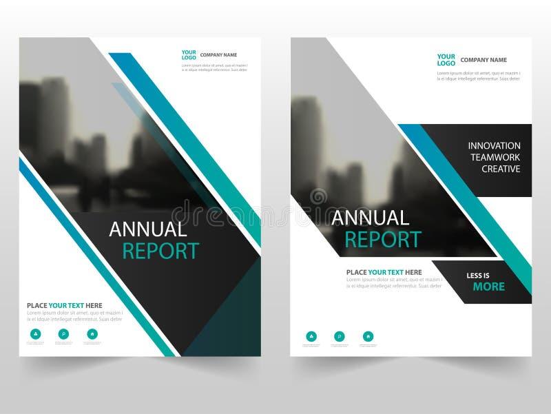 Progettazione del modello del rapporto annuale dell'aletta di filatoio dell'opuscolo dell'opuscolo di affari del nero blu, proget illustrazione vettoriale