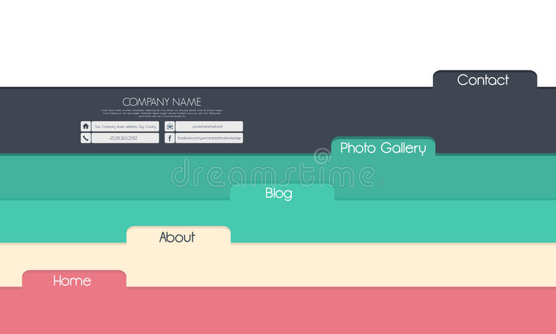Progettazione del modello del sito Web con le etichette colorate illustrazione vettoriale