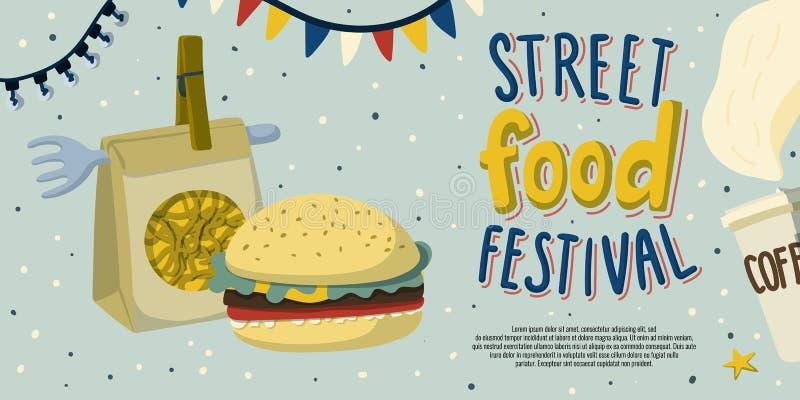 Progettazione del modello dell'aletta di filatoio di festival dell'alimento della via con le tagliatelle in imballaggio, hamburge illustrazione di stock