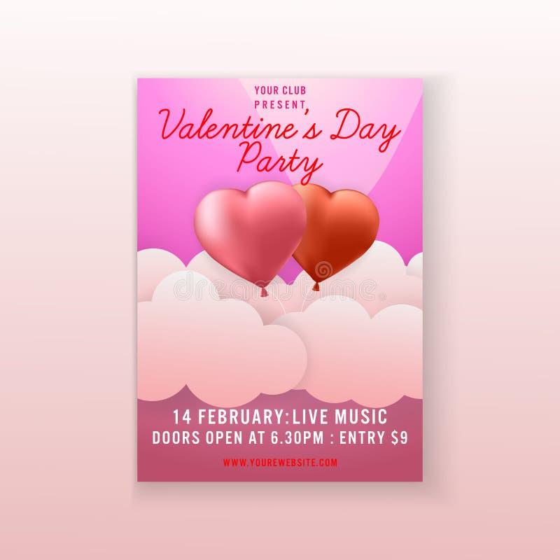 Progettazione del modello dell'aletta di filatoio dell'invito del fondo del cuore delle coppie del partito di San Valentino Vetto illustrazione vettoriale