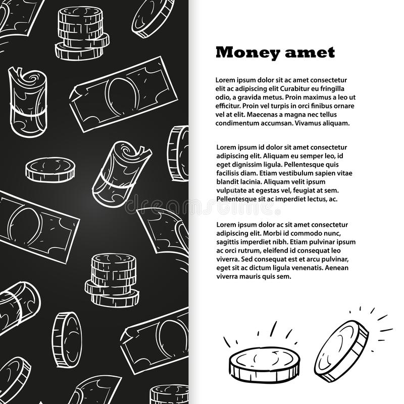 Progettazione del modello dell'insegna dei soldi di schizzo del gesso illustrazione vettoriale