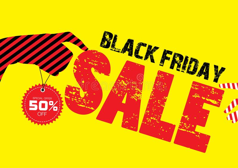 Progettazione del modello dell'insegna di vendita, insegna nera di vendita di 50% venerd? su fondo giallo Illustrazione di vettor illustrazione vettoriale
