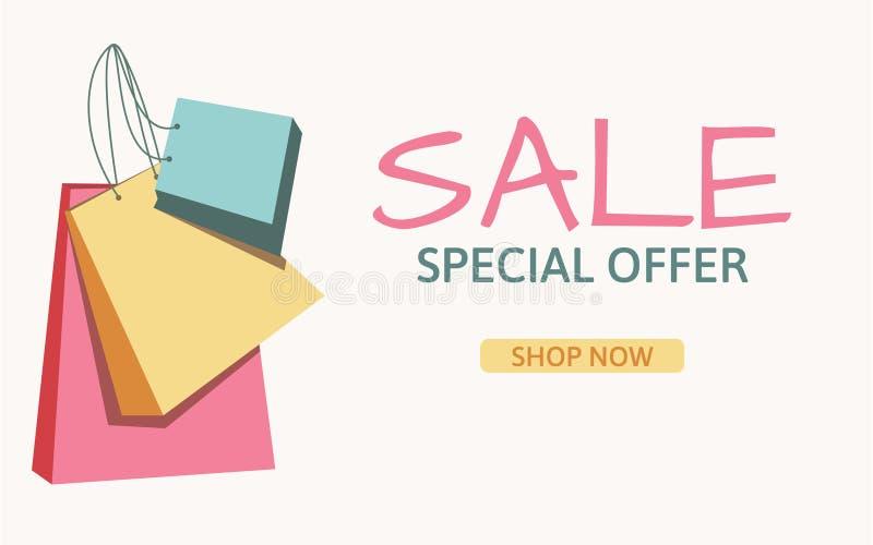 Progettazione del modello dell'insegna di vendita Offerta speciale Negozio ora Sacchetti di acquisto variopinti Illustrazione di  illustrazione di stock