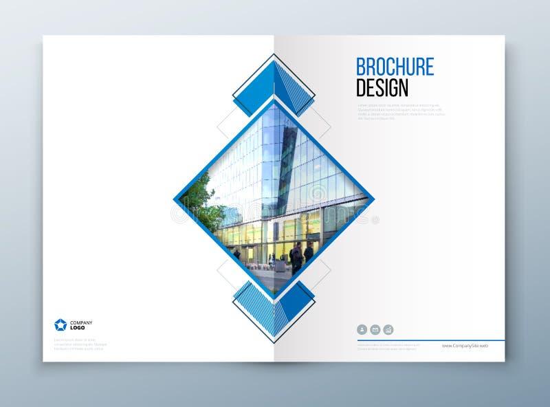 Progettazione del modello dell'opuscolo della copertura Blu scuro Rapporto annuale di affari corporativi, catalogo, rivista, mode illustrazione di stock