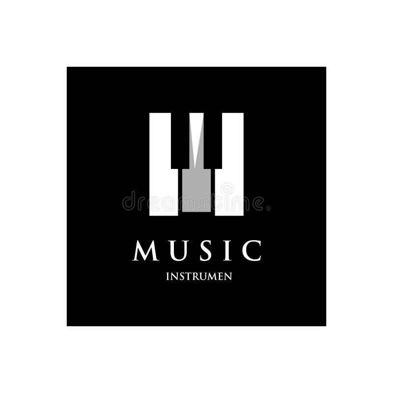 Progettazione del modello di logo dell'orchestra del piano su un fondo nero Illustrazione di vettore illustrazione vettoriale