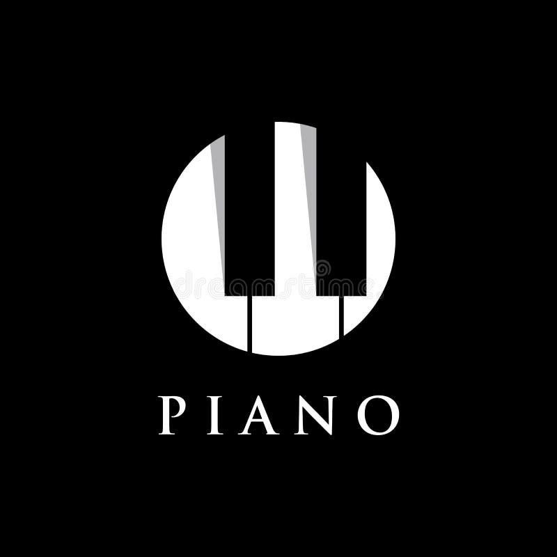 Progettazione del modello di logo dell'orchestra del piano su un fondo nero Illustrazione di vettore royalty illustrazione gratis