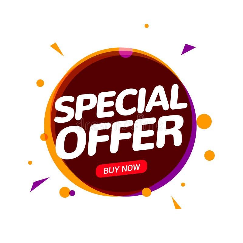 Progettazione del modello di offerta speciale dell'insegna di vendita Etichetta speciale del segno di prezzo di sconto di stagion royalty illustrazione gratis