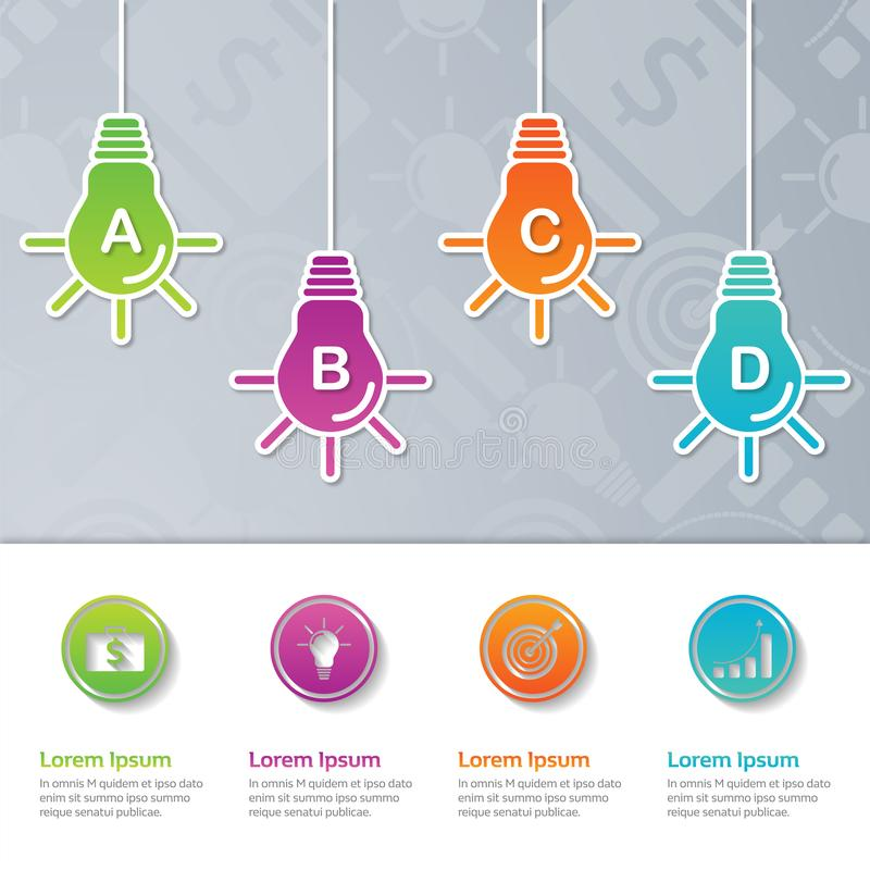 Progettazione del modello di presentazione di Infographic, concetto di affari con 4 punti o processi, illustrazione di stock