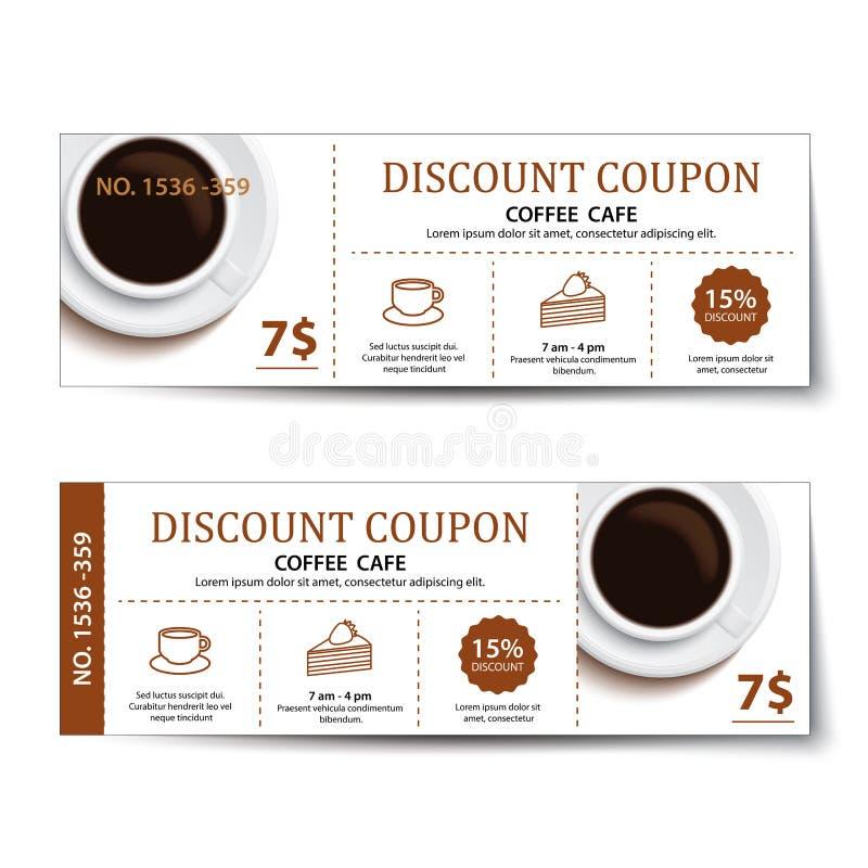 Progettazione del modello di sconto del buono del caffè illustrazione di stock
