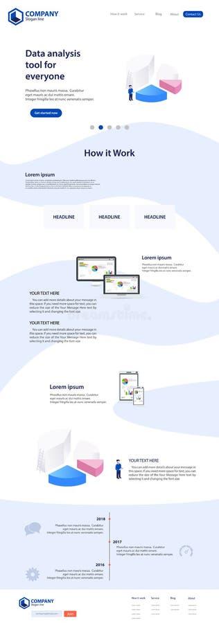 Progettazione del modello di tema del sito Web della pagina di atterraggio royalty illustrazione gratis