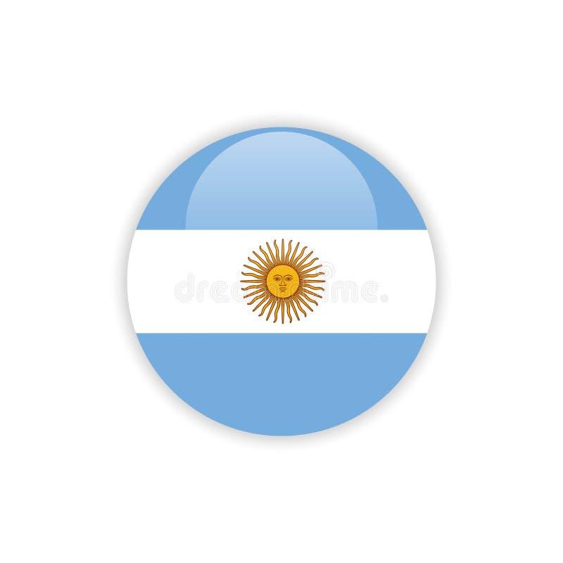 Progettazione del modello di vettore della bandiera dell'Argentina del bottone illustrazione di stock