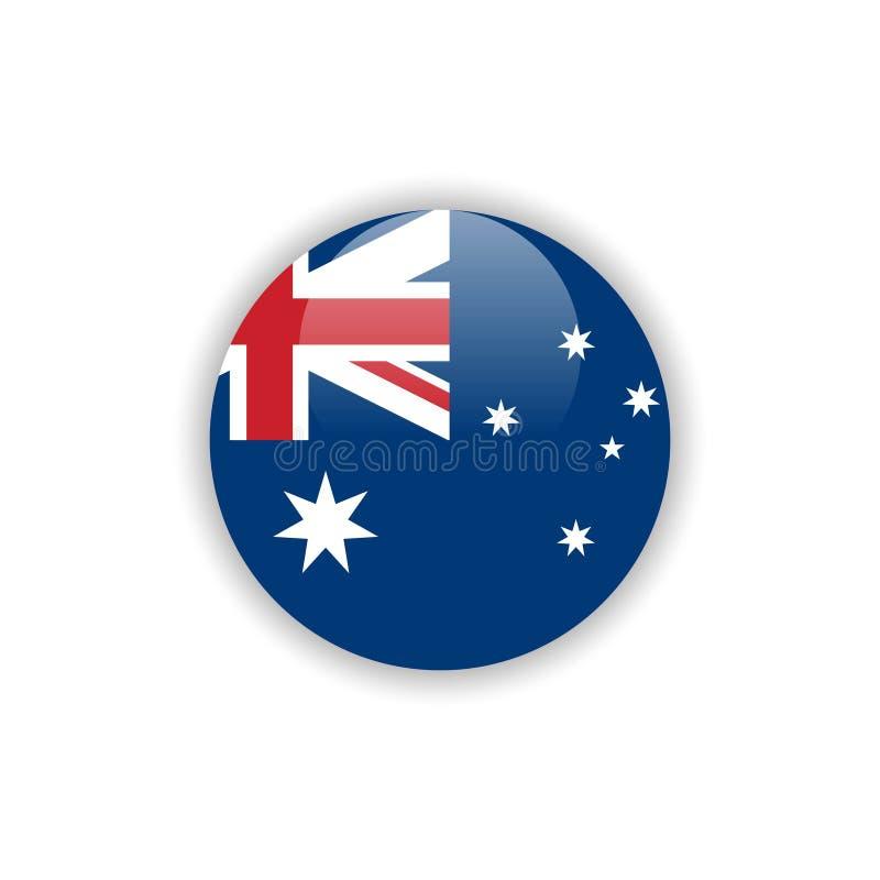 Progettazione del modello di vettore della bandiera dell'Australia del bottone illustrazione vettoriale