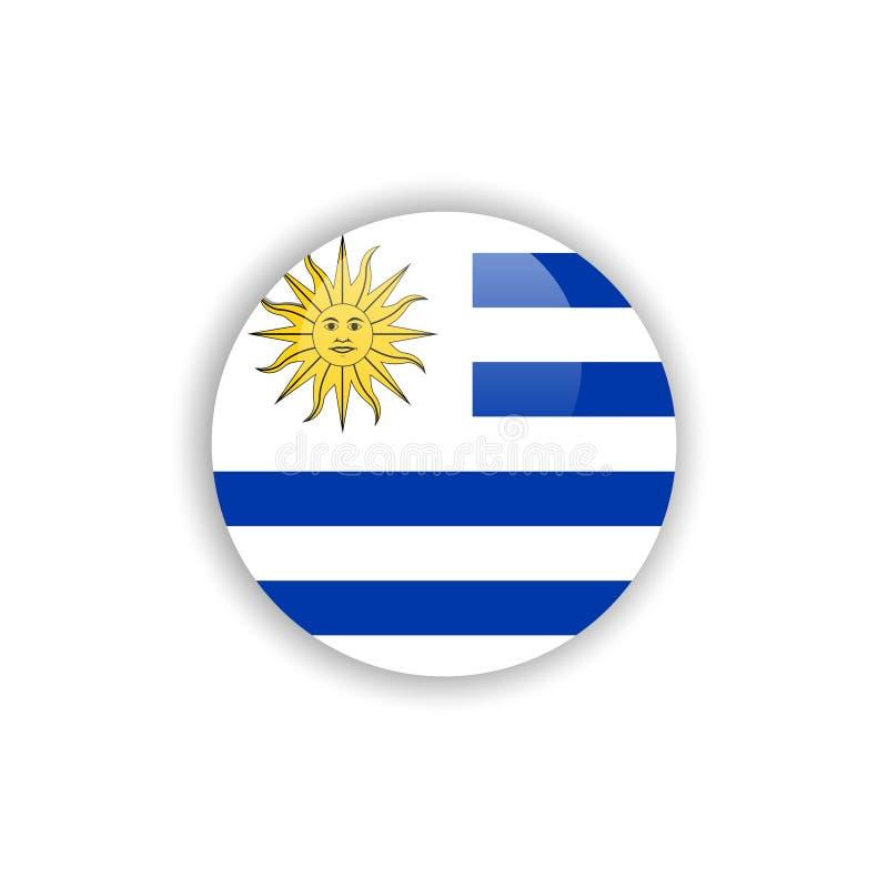 Progettazione del modello di vettore della bandiera dell'Uruguay del bottone royalty illustrazione gratis
