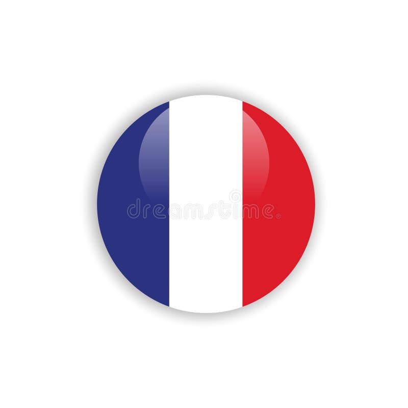 Progettazione del modello di vettore della bandiera della Francia del bottone illustrazione di stock