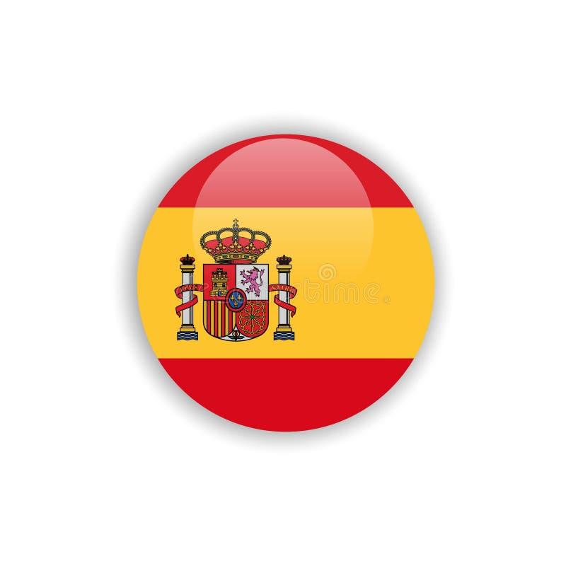 Progettazione del modello di vettore della bandiera della Spagna del bottone illustrazione di stock